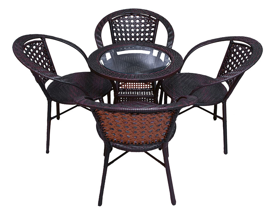 Round Rattan Table Set